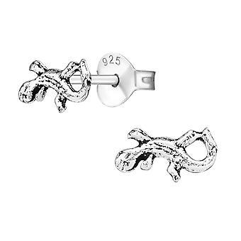 Lizard - 925 Sterling Silver Plain Ear Studs - W20519X