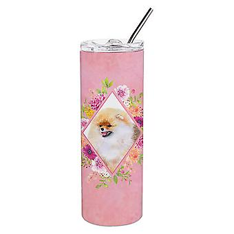 Pomeranian #2 Pink Flowers Double Walled Stainless Steel 20 oz Skinny Tumbler