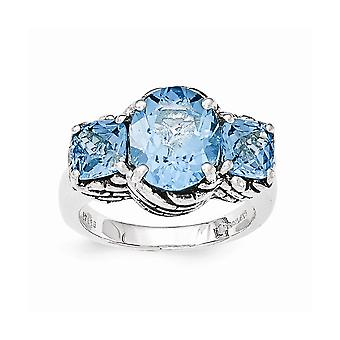 925 Sterling Silver Light Blue Swiss Topaz Ring Jewelry Gifts for Women - Ring Size: 7 to 8