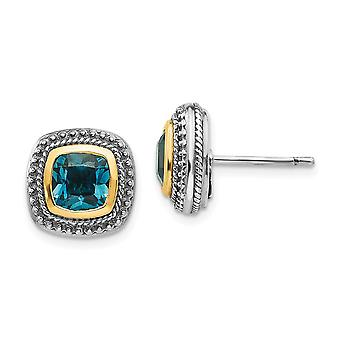 925 Sterling Silver With 14k London Blue Topaz Post Earrings Jewelry Gifts for Women - 2.60 cwt