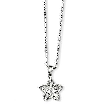 925 στερλίνα ασημένια άνοιξη δαχτυλίδι ρόδιο επιμεταλλωμένα και CZ κυβικά Zirconia προσομοιωμένο Diamond Star κολιέ 18 ιντσών κοσμήματα GIF