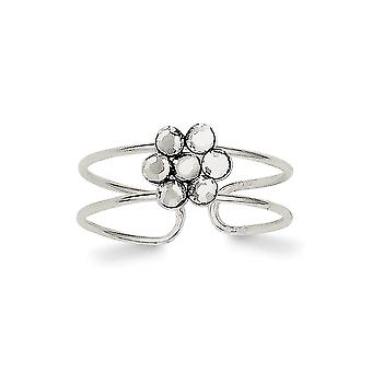 925 Sterling Silver Polido CZ Cubic Zirconia Simulated Diamond Flower Toe Ring Jewely Gifts for Women