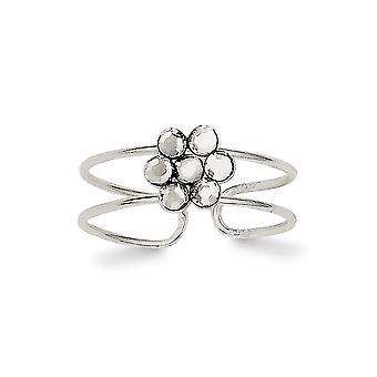 925 Sterling Silver polerad CZ Cubic Zirconia Simulerad Diamond Flower Toe Ring Smycken Gåvor för kvinnor