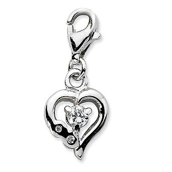 925 Sterling Silver Rhodium plated Fancy Lobster Closure Click on CZ Cubic Zirconia Simulated Diamond Polished Love Hear