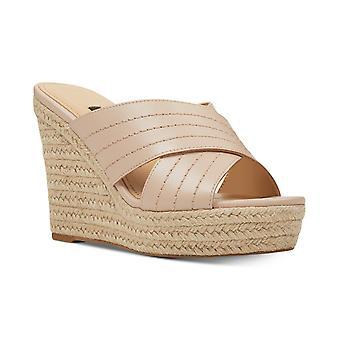 Negen West Womens hoop Leer open teen casual platform sandalen