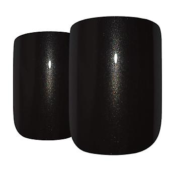False nails by bling art black glitter french squoval fake medium acrylic tips