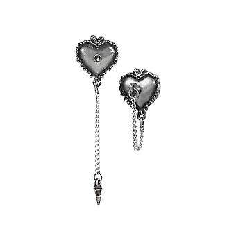 Alchemy Witches Heart Pewter Earrings