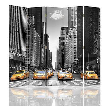 Diviseur de chambre, 5 panneaux, double-sided, 360 rotatable, toile, taxi de New York