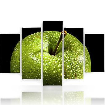Vijf deel foto op canvas, Pentaptych, type A, groene appel