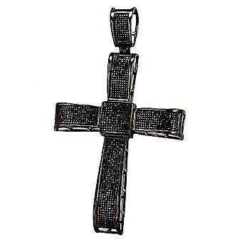 Dazzlingrock Collection 2,00 Carat (CTW) Micro pave sort diamant Herre hip hop religiøs Kors vedhæng, sterling sølv