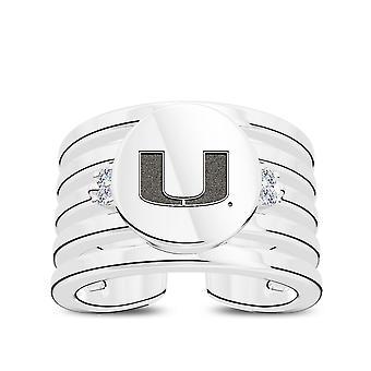 Anillo de diamantes de la Universidad de Miami en diseño de plata de ley por BIXLER
