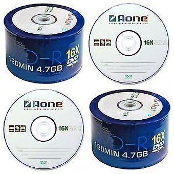 Quad 4 Pack DVD-R AOne Logo mandrino/torta scatola di Blank 50 dischi DVD registrabili: 200x (16 X scrittura)