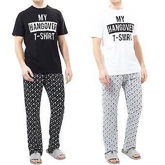Brave Soul Mens Hangover Dwuczęściowy t-shirt i spodnie Piżamy Loungewear