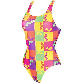arena Womens Factory One piece V Back Swimming Swimsuit Costume - Yellow/Multi