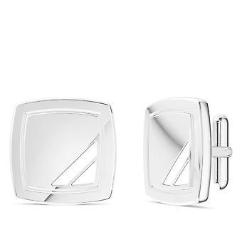 White Enamel Cuff Links In Sterling Silver
