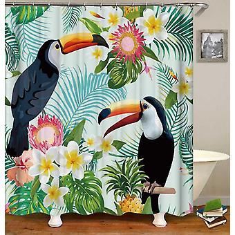 Tropical Vibes Toucans And Plumeria Shower Curtain