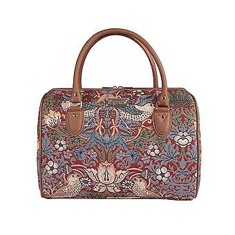 William morris - strawberry thief red travel bag by signare tapestry / trav-strd