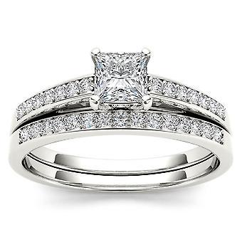 Igi-certifierad s925 silver 0.66ct tdw diamant tre sten stil brudset