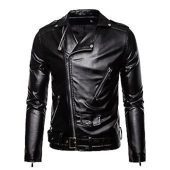 Allthemen Men's Solid Lapel Faux Leather Mantel Casual Slim-Fit Overcoat