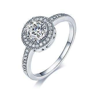 18k white-gold plated round halo engagement rings