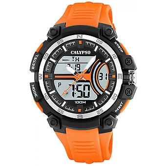 Titta på Calypso STREET K5779-1 stil - klocka 52 MM case svart harts ORANGE man armband
