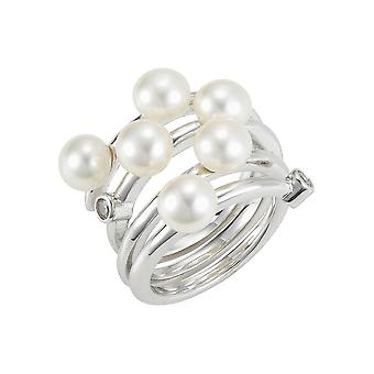 Adriana - Ring - Silver 925 rhod. - 2 zirc. - 6 SW beads white 6-7mm - A97-Gr52