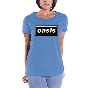 Oasis T Shirt Classic Decca Logo new Official Womens Skinny Fit Sky Blue