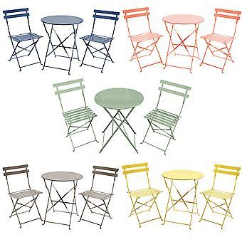 Charles Bentley 3-delige Metal Bistro set tuinterras tafel & 2 stoelen met poedercoating afwerking-lichtgewicht-5 kleuren