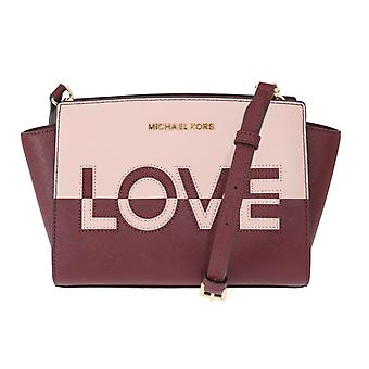 Michael Kors Red Pink Selma Leather Bag