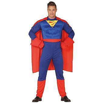 Mens Gespierde Superheld Fancy Dress Kostuum