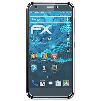 atFoliX 3x Protective Film compatible with ZTE Blade A512 Screen Protector clear&flexible