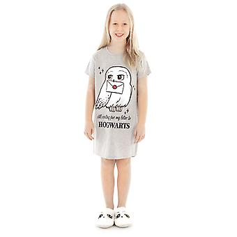 Harry Potter Night Dress Hedwig Hogwarts Girl's Kids Grey Cotton Nightgown