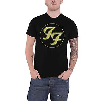 Foo Fighters T Shirt Gold FF Band Logo Distressed new Official Mens Charcoal