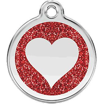 Red Dingo Identity Plate Heart Shine S - Red x 20mm dia