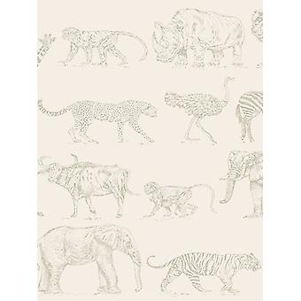 Boutique Safari Dieren Wallpaper Cream / Rose Gold Graham & Brown