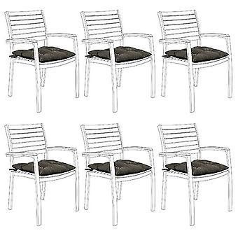 Gardenista Garten Stuhl Sitzkissen mit Krawatten | Slip Free hypoallergen Tufted Pad | Wasserbeständige dicke Qualität | Ideal für Drinnen & Outdoor | Sichere Krawatten | 6 Stück (Grau)