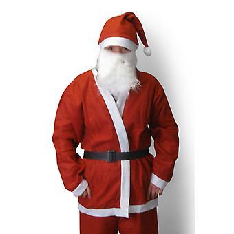 Weihnachtsmann Kostüm für Erwachsene mit Kapuze, Gürtel und Bart