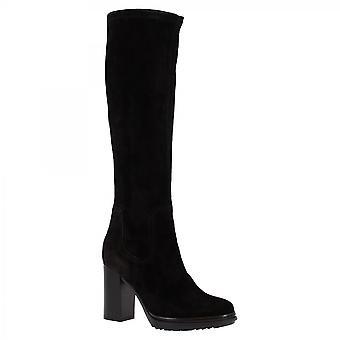 Leonardo Shoes Women's handgemaakte hakken knie hoge laarzen in zwart suède leer