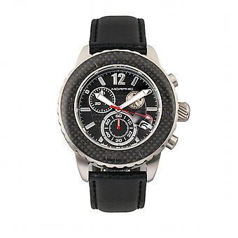 Morphic M51 serien Chronograph läder-Band Watch w/datum-Silver/svart