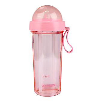 Two-piece Water Bottle with Straw - Pink