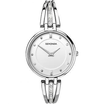 Sekonda Ladies 'Editions' White Dial Stone Set Stainless Steel Bangle Watch 2467