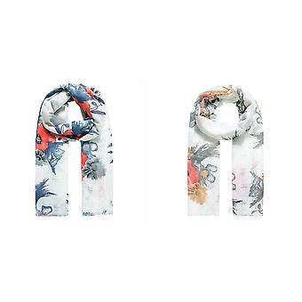 Jewelcity Womens/Ladies Poppy Print met Ladder Effect Sjaal