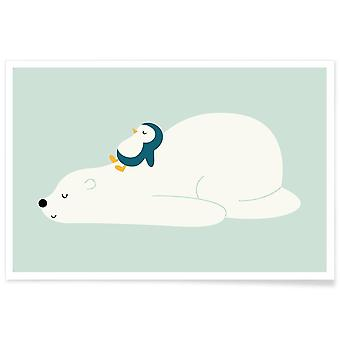 JUNIQE Print - Time to Chill - Bears Poster in White