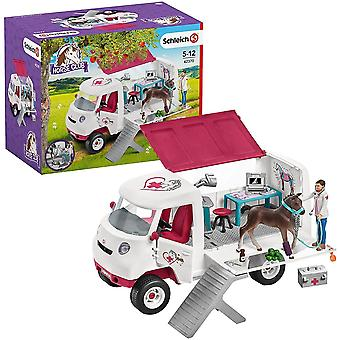 schleich mobile vet with hanoverian foal playset for ages 5 and above