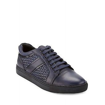 Zanzara Mens Rhythm Leather Low Top Lace Up Fashion Sneakers