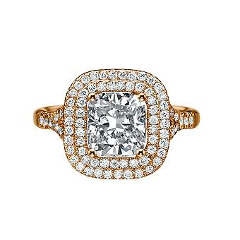 1.9 Carat F VS2 Diamond Engagement Ring 14K Rose Gold Halo Micro Pave Double Halo