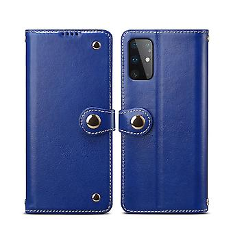 Pour Samsung Galaxy S20 Case Genuine Leather Luxury Wallet Case Blue