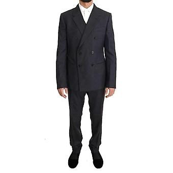 Dolce & Gabbana Gray Wool Silk Double Breasted Slim Suit -- KOS1430960