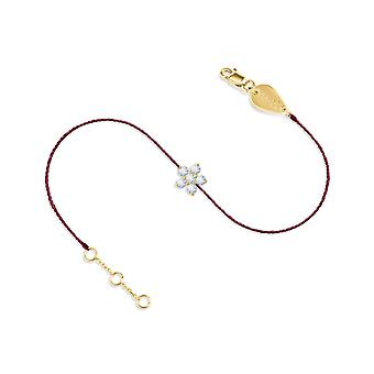 Bracelet Fairy Flower 18K Gold and Diamonds, On Thread - Yellow Gold, Raspberry