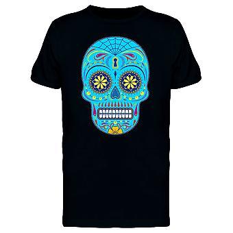 Blaue stilisierte Sugar Skull T-Shirt Männer-Bild von Shutterstock